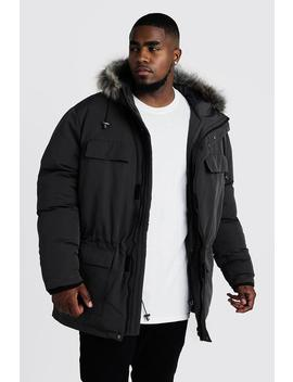 Big & Tall Faux Fur Hooded Arctic Parka by Boohoo