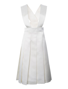 Cutout Pleated Crepe Knee Length Dress by Miu Miu