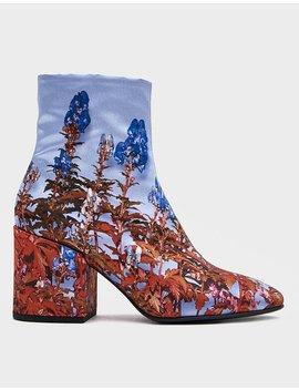 Satin Printed Boot In Parma Floral by Dries Van Noten Dries Van Noten
