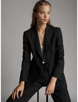 100 Percents Wool Slim Fit Single Button Blazer by Massimo Dutti