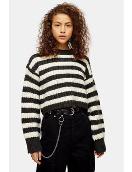 Grey Knitted Stripe Crew Neck Jumper by Topshop