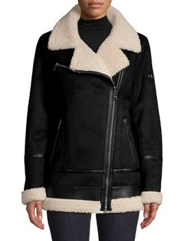 Faux Fur Lined Asymmetric Zip Jacket by Calvin Klein