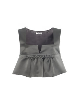 Ruffle Satin Cropped Top by Miu Miu