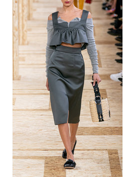 High Rise Satin Slit Skirt by Miu Miu