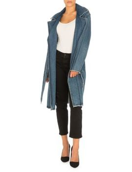 Tie Waist Denim Trench Coat by Guess
