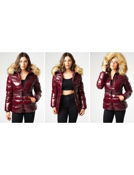 Shiny Burgundy Wet Look Puffer Coat With Faux Fur Hood by Love Sunshine