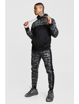 Camo Colour Block Hooded Tracksuit by Boohoo