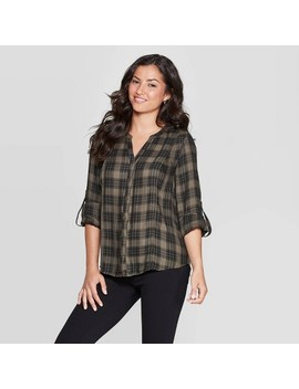 Women's Plaid Long Sleeve V Neck Button Front Shift Blouse With Lace Back Detail   Knox Rose™ Olive by Knox Rose