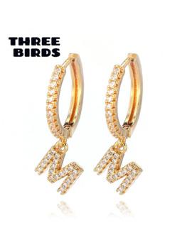 Three Birds Trendy Zirconia Initial Letter Hoop Earrings Gold Silver Alphabet Drop Earrings For Women Jewelry 2 Pcs Orecchini by Ali Express.Com