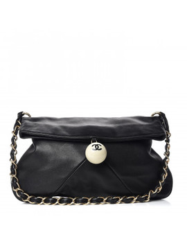 Chanel Lambskin Coco Ball Fold Over Bag Black by Chanel