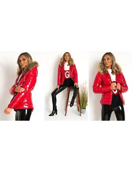 Olga Padded Puffer Jacket With Faux Fur Hood In Red by Ikrush