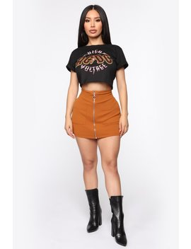 Business In The Front Skort   Camel by Fashion Nova