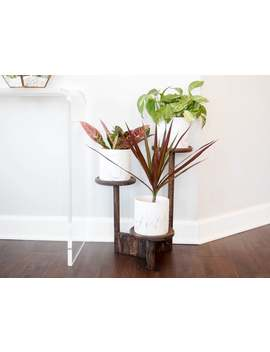 Three Tier Wooden Plant Stand With 3 Marbled Ceramic Pots, Modern Indoor Planter by Etsy