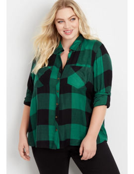 Plus Size Buffalo Plaid Button Down Shirt by Maurices