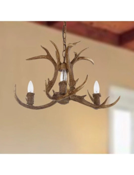 Safavieh Lighting Makani Adjustable 3 Light Brown Antler Chandelier by Safavieh