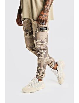 Skinny Camo Cargo Joggers With Man Tab by Boohoo