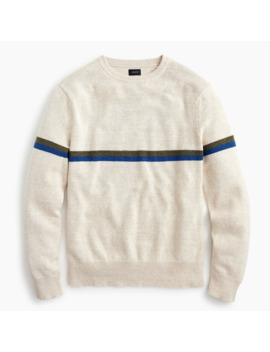 Cotton Wool Thin Chest Stripe Crewneck Sweater by J.Crew
