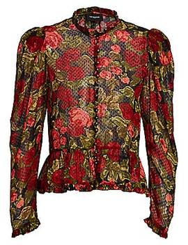 Floral Puff Sleeve Blouse by The Kooples
