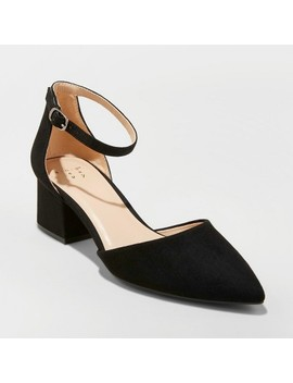 Women's Natalia Microsuede Pointed Toe Block Heeled Pumps   A New Day™ by A New Day