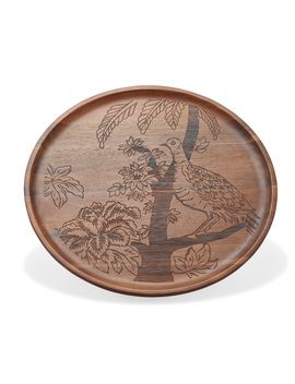 Tropical Toile Engraved Wood Serving Tray By Drew Barrymore Flower Home by Drew Barrymore Flower Home
