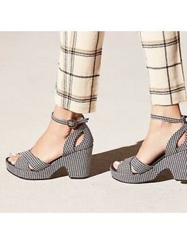 Free People Platform Wedge Black White Addison Houndstooth Fabric 40/ 9 New by Wedge