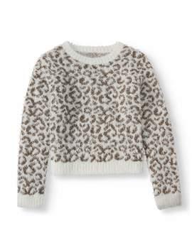 Wonder Nation Animal Print Pullover Eyelash Sweater (Little Girls, Big Girls & Plus) by Wonder Nation