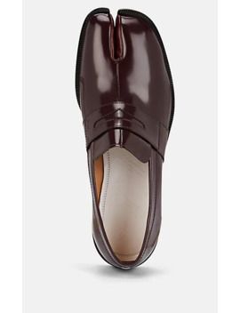 Tabi Spazzolato Leather Penny Loafers by Maison Margiela