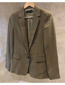 Womens Zara Khaki Green Tailored Fit Blazer Jacket   Size Small 8 10 by Zara