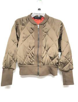 Zara Women Blazer Jacket Gold Olive Short Padded Bomber S 7659 961 515 $129 by Zara