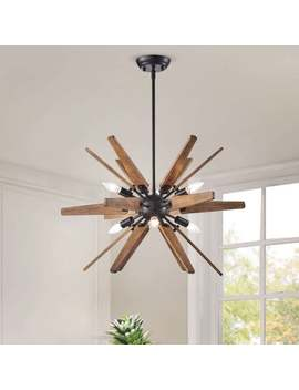 Bernice 6 Light Antique Black Sputnik Natural Wood Chandelier by The Lighting Store