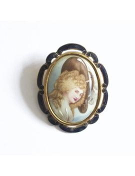 Vintage Oval Enamel Victorian Lady In Hat Brooch/Pendant By Thomas L Mott by Etsy