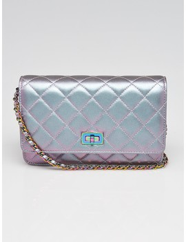 Light Purple Quilted Leather Reissue Woc Clutch Bag by Chanel