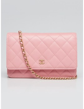 Pink Quilted Lambskin Leather Classic Woc Clutch Bag by Chanel