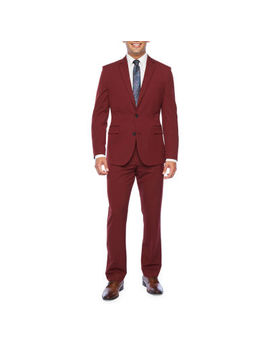 Jf Bright Burgundy Slim Fit 360 Suit Separates by Jf J.Ferrar