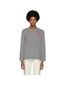 Black & White Striped Heart Patch T Shirt by Comme Des GarÇons Play