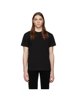 Black & Red Double Hearts T Shirt by Comme Des GarÇons Play