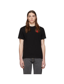 Black & Red Long Heart Patch T Shirt by Comme Des GarÇons Play