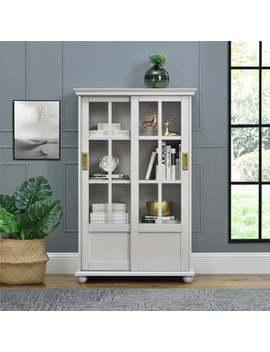 Novogratz Magnolia Hill Grey Bookcase With Sliding Glass Doors by Novogratz