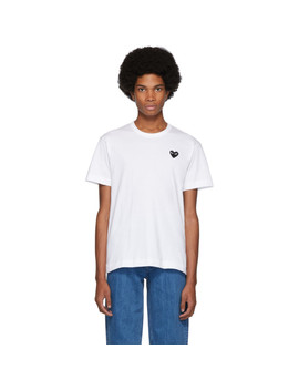 White & Black Heart Patch T Shirt by Comme Des GarÇons Play