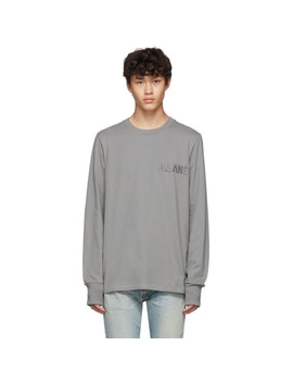 Grey Embroidered Logo Standard Long Sleeve T Shirt by Helmut Lang