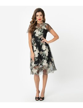 Chi Chi London Black & Ivory Floral Embroidered Cherie Cocktail Dress by Unique Vintage