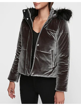 Velvet Quilted Puffer Coat by Express