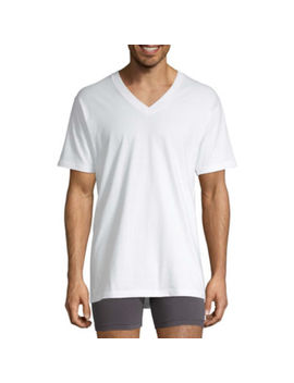 Stafford® 4 Pk. Heavyweight Cotton V Neck T Shirts by Stafford
