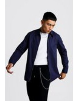 Cotton Zip Through Overshirt by Boohoo Man