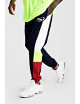 Man Shell Colour Block Side Panel Joggers by Boohoo Man