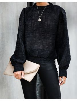 Quarter Past Midnight Textured Blouse   Black by Vici