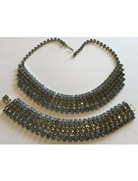 Vintage Juliana Light Blue And Gray Rhinestone Necklace & Bracelet by Juliana