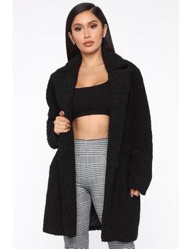 Just Go For It Sherpa Coat   Black by Fashion Nova