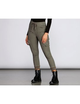 High Rise Knit Cargo Style Pants by Windsor