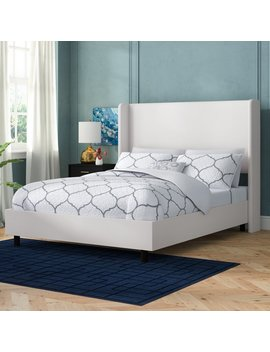 Queen Twill White Godfrey Upholstered Standard Bed by Willa Arlo Interiors